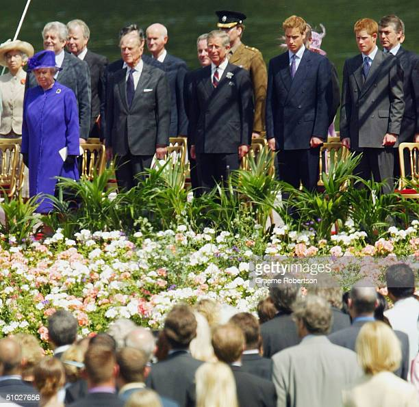 Queen Elizabeth II members of the Royal family and the Spencer family attend the opening of the Diana Memorial Fountain in memory of the late...