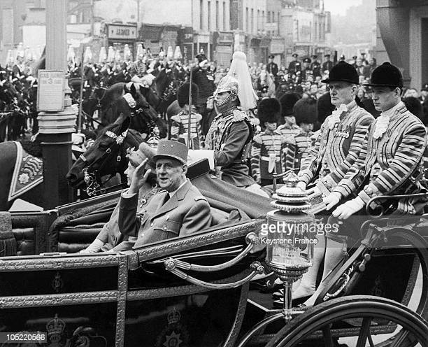 Queen Elizabeth Ii Of England And General De Gaulle Then On An Official Trip Riding In A Royal Carriage In London On April 5 1960