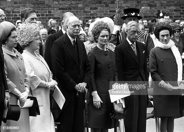 Queen Elizabeth II of England attends a public ceremony at Marlborough House, London, at which she unveils a plaque commemorating the centenary of...