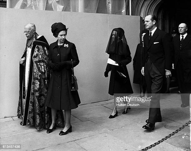 Queen Elizabeth II of England leaves Saint George's Chapel Windsor after the funeral service of Edward Duke of Windsor before his burial at Frogmore...
