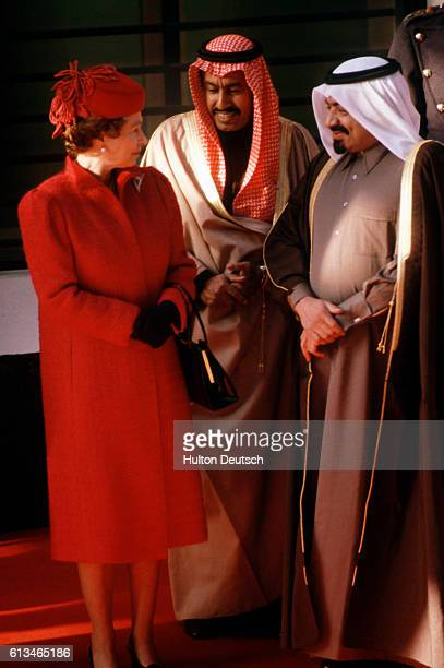 Queen Elizabeth II of England with Khalifa bin Hamad alThani Emir of Qatar at the start of his state visit to Britain