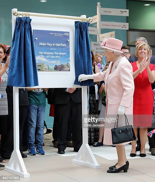 Queen Elizabeth II officially opens Alder Hey Children's Hospital during a visit to Liverpool on June 22 2016 in Liverpool England