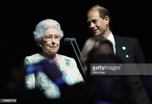 Queen Elizabeth II officially opens the London 2012 Paralympic Games watched by Prince Edward Earl of Wessex during the opening ceremony at the...
