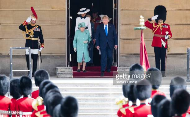 Queen Elizabeth II officially welcomes US President Donald Trump and First Lady Melania Trump at a Ceremonial Welcome at Buckingham Palace on June 03...