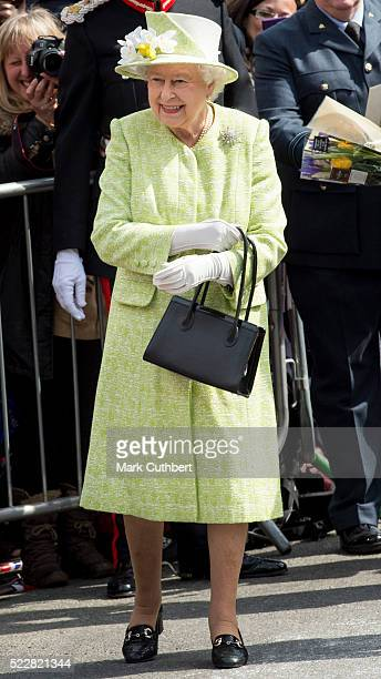 Queen Elizabeth II on a walkabout to celebrate the Queen's 90th Birthday on April 21, 2016 in Windsor, England.