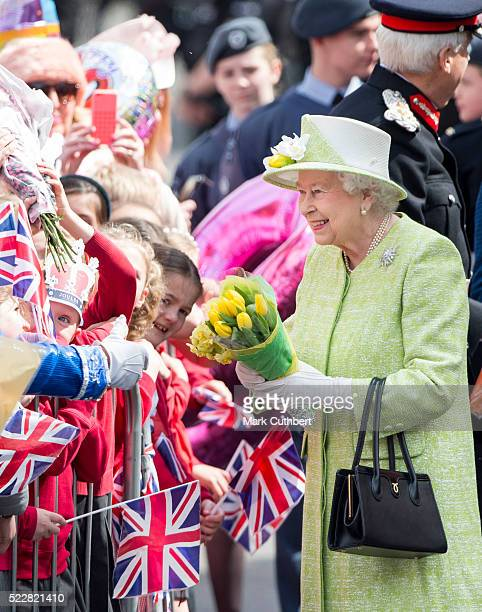 Queen Elizabeth II on a walkabout to celebrate the Queen's 90th Birthday on April 21 2016 in Windsor England