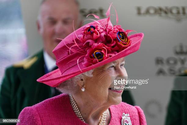 Queen Elizabeth II on day 3 of Royal Ascot at Ascot Racecourse on June 21 2018 in Ascot England
