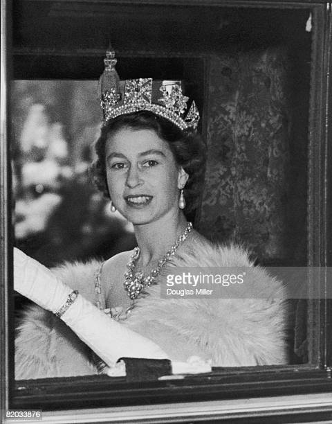 Queen Elizabeth II on her way to her first State Opening of Parliament as monarch, 4th November 1952.