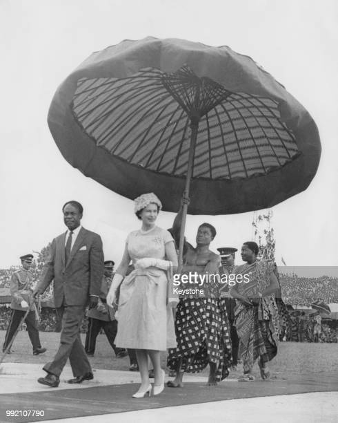 Queen Elizabeth II on her way to the Kumasi Durbah with Dr Kwame Nkrumah , President of Ghana, during her tour of Ghana, November 1961.