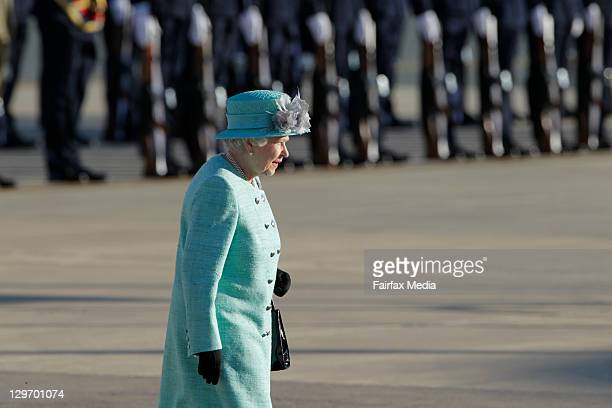 Queen Elizabeth II on October 19, 2011 in Canberra, Australia. The Queen and Duke of Edinburgh are on a 10-day visit to Australia and will travel to...