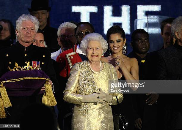 Queen Elizabeth II on stage during the Diamond Jubilee concert at Buckingham Palace on June 4 2012 in London England For only the second time in its...