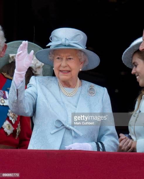 Queen Elizabeth II on the balcony at Buckinghgam Palace during the annual Trooping The Colour parade on June 17 2017 in London England