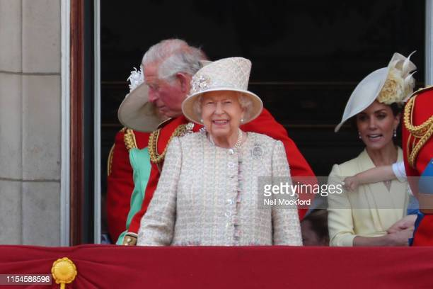 Queen Elizabeth II on the balcony of Buckingham Palace during Trooping The Colour the Queen's annual birthday parade on June 08 2019 in London England