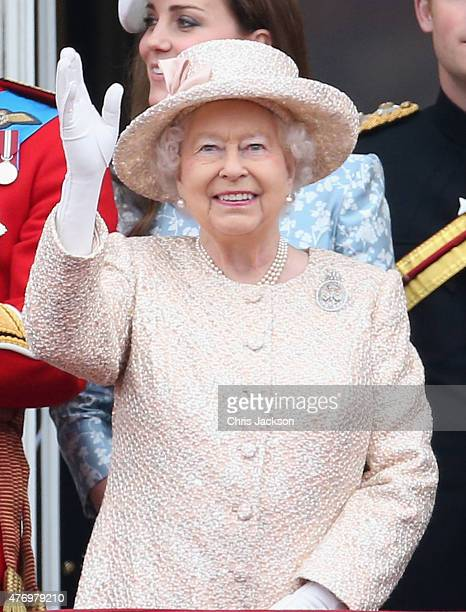 Queen Elizabeth II on the balcony of Buckingham Palace during the Trooping the Colour on June 13 2015 in London England The ceremony is Queen...