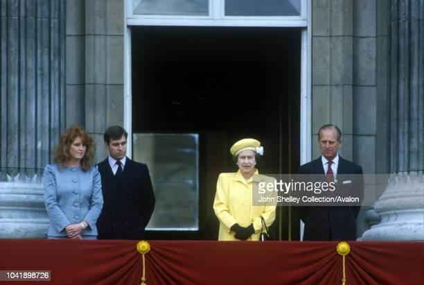 Queen Elizabeth II, On the balcony of Buckingham Palace for Queen's 60th birthday celebrations, Prince Philip, Duke of Edinburgh, Prince Andrew, Duke...