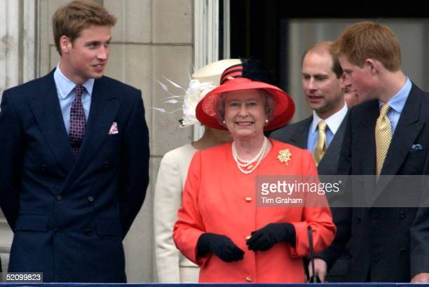 Queen Elizabeth II On The Balcony Of Buckingham Palace With Prince William And Prince Harry To Celebrate Golden Jubilee Day