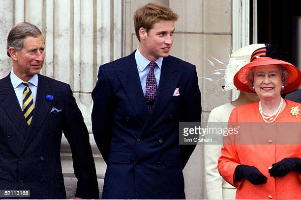 Queen Elizabeth II On The Balcony Of Buckingham Palace With Prince Charles And Prince William At The End Of A Hectic Golden Jubilee Day