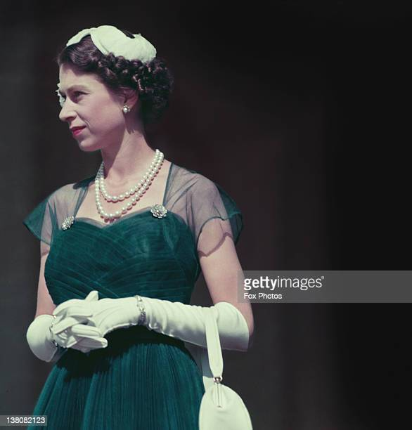Queen Elizabeth II on the balcony of Government House, Melbourne, during her tour of Australia, March 1954.