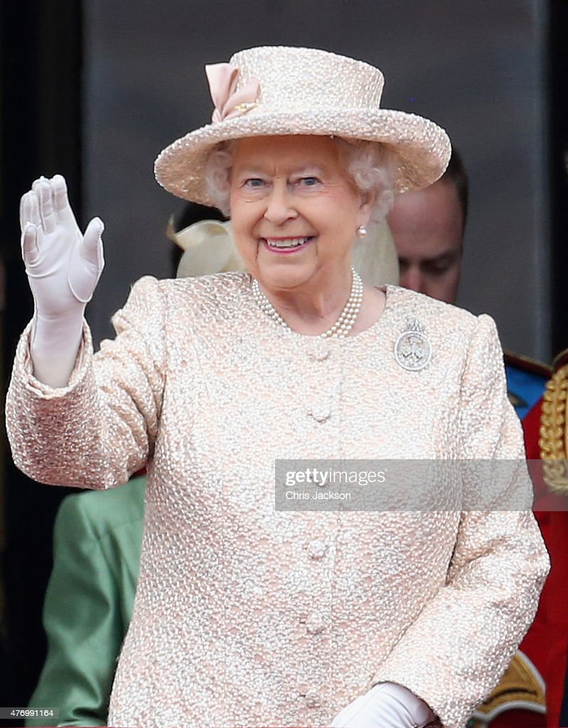 Queen Elizabeth II on the balcony of uckingham Palace during the Trooping the Colour on June 13, 2015 in London, England. The ceremony is Queen Elizabeth II's annual birthday parade and dates back to the time of Charles II in the 17th Century when the Colours of a regiment were used as a rallying point in battle.