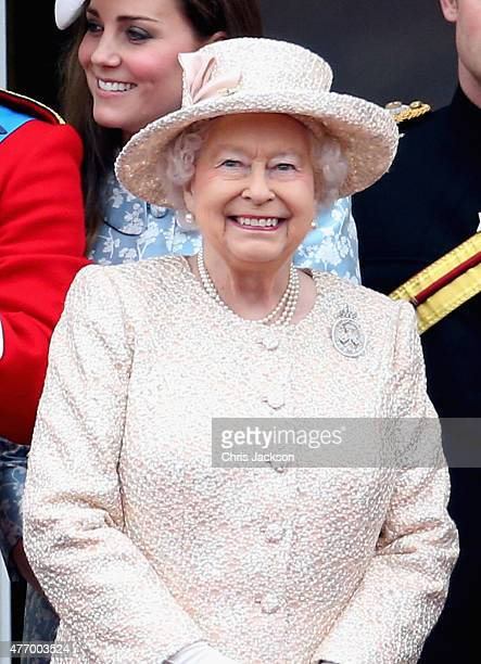 Queen Elizabeth II on the balcony of uckingham Palace during the Trooping the Colour on June 13 2015 in London England The ceremony is Queen...