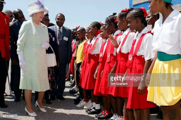 Queen Elizabeth II On The Second Day Of Her Official Tour Of Jamaica The Queen Is Visiting The Hugh Sherlock Centre Which Is Part Of The Jamaican...