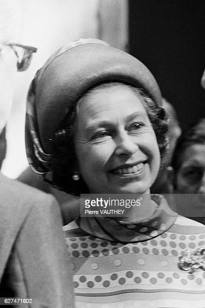 Queen Elizabeth II on visit at Chantilly Racecourse