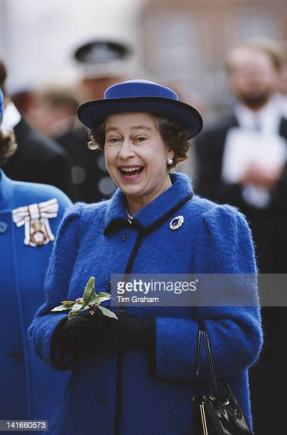 Queen Elizabeth II on walkabout in Chichester after attending the Maundy Service at Chichester Cathedral 27th March 1986