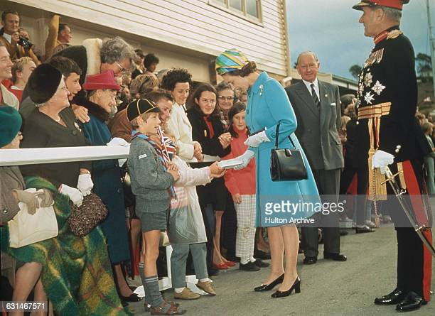 Queen Elizabeth II on walkabout in Launceston Tasmania during her tour of Australia 1970 She is there in connection with the bicentenary of Captain...