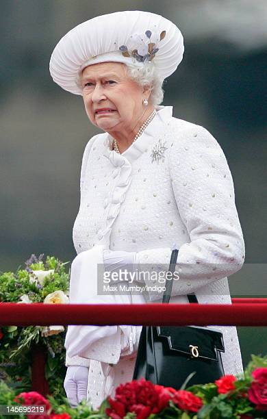 Queen Elizabeth II onboard the Royal Barge 'Spirit of Chartwell' during the Diamond Jubilee Thames River Pageant on June 3 2012 in London England For...