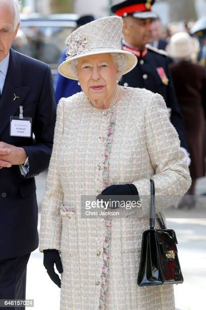 Queen Elizabeth II opens a new development at The Charterhouse at Charterhouse Square on February 28 2017 in London England