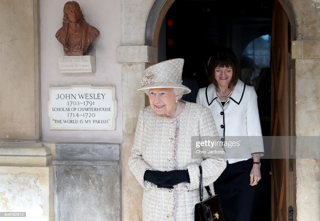 Queen Elizabeth II opens a new development at The Charterhouse at Charterhouse Square on February 28, 2017 in London, England.