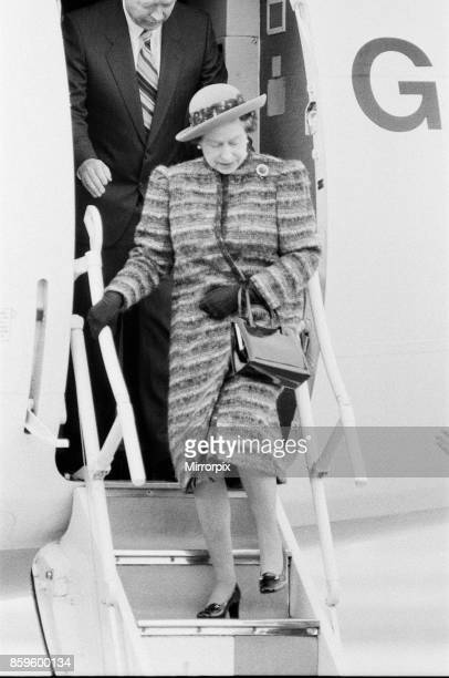 Queen Elizabeth II opens London City Airport to the East of London Here the Queen steps down from an aeroplane after being given a short tour of the...