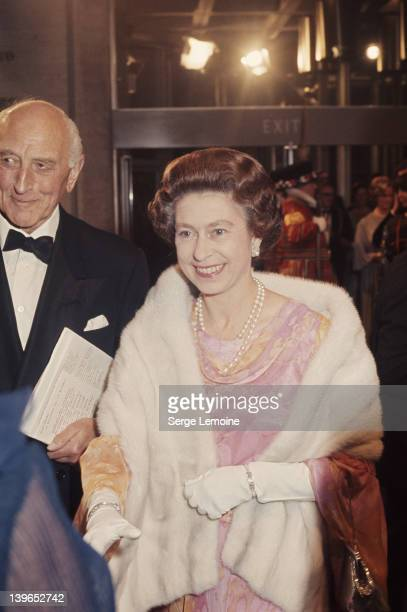 Queen Elizabeth II opens the National Theatre on the South Bank in London 25th October 1976