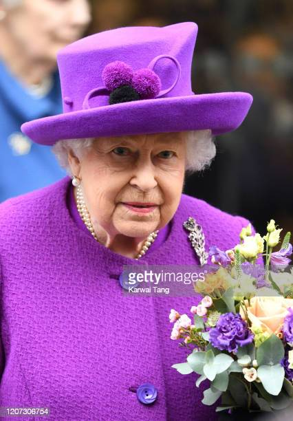 Queen Elizabeth II opens the new premises of the Royal National ENT and Eastman Dental Hospital on February 19 2020 in London England