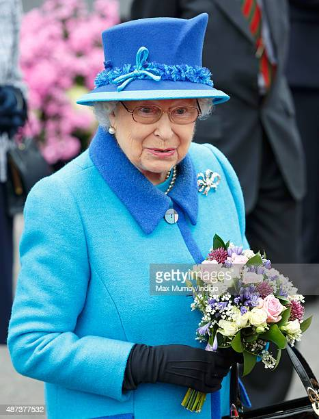Queen Elizabeth II opens the new Scottish Border's Railway as she visits Tweedbank Station on September 9 2015 in Tweedbank Scotland Today Her...