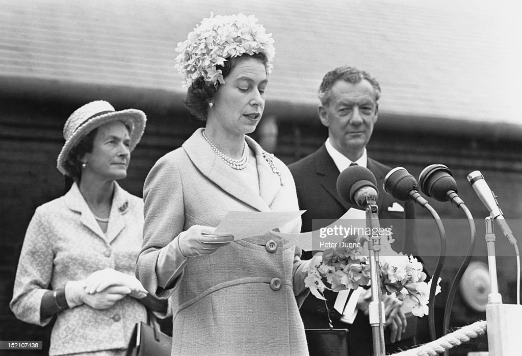 Queen Elizabeth II opens the new Snape Maltings Concert Hall, at the start of the twentieth Aldeburgh Festival, Suffolk, 2nd June 1967. On the right is English composer and founder of the Aldeburgh Festival, Benjamin Britten (1913 - 1976).