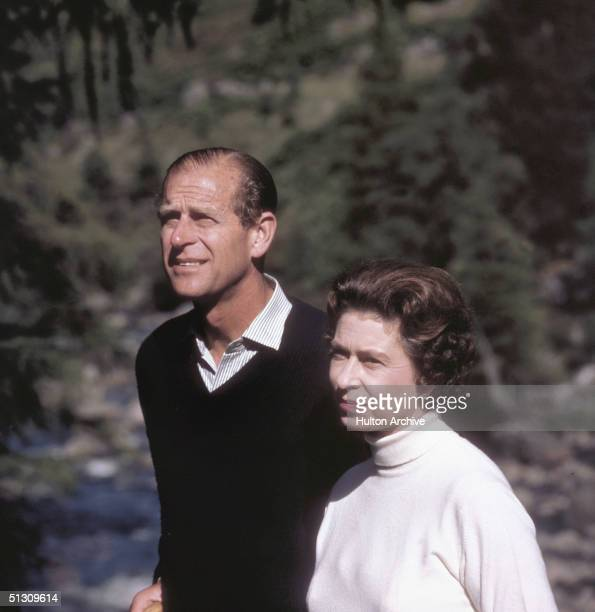 Queen Elizabeth II out walking with her husband Prince Philip 1970s