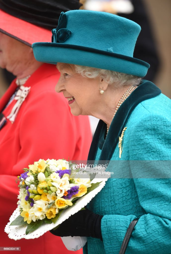 Queen Elizabeth II outside Leicester Cathedral after the Royal Maundy service.