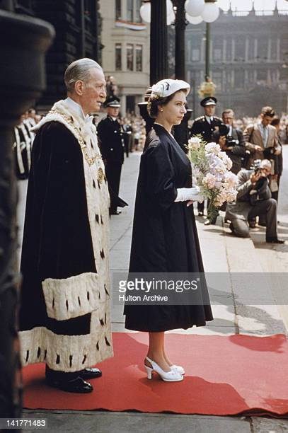 Queen Elizabeth II outside the City Chambers in Glasgow during a Coronation Tour of Scotland 1953 Standing behind her is the Lord Provost of Glasgow...