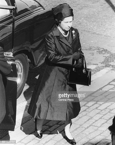 HM Queen Elizabeth II outside Westminster Abbey for the funeral of Lord Mountbatten London September 5th 1979