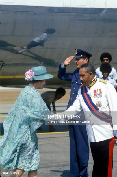 Queen Elizabeth II Papua New Guinea Arriving at Port Moresby Airport Governor General Tore Lokoloko 13th October 1982