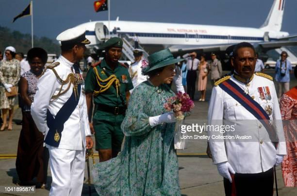 Queen Elizabeth II Papua New Guinea Prince Philip Duke of Edinburgh Arriving at Port Moresby Airport Governor General Tore Lokoloko 13th October 1982