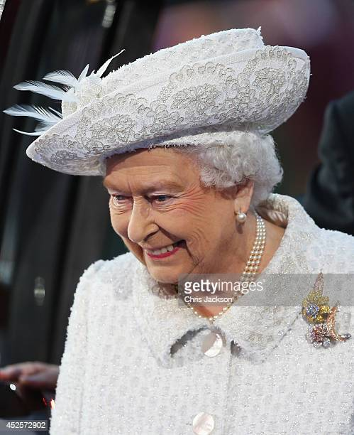 Queen Elizabeth II Patron of the CGF smiles during the Opening Ceremony for the Glasgow 2014 Commonwealth Games at Celtic Park on July 23 2014 in...