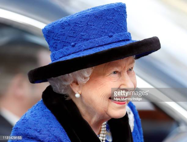 Queen Elizabeth II, Patron, The Royal Army Chaplains' Department, attends a service to celebrate the centenary of the granting by King George V of...