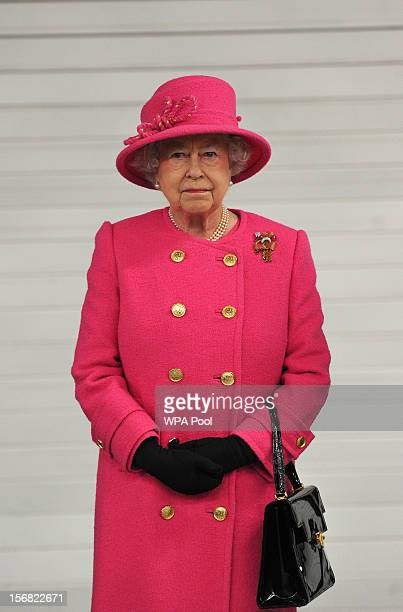Queen Elizabeth II pictured during a visit to the Bailey caravan factory as part of her Jubilee tour on November 22, 2012 in Bristol, England.