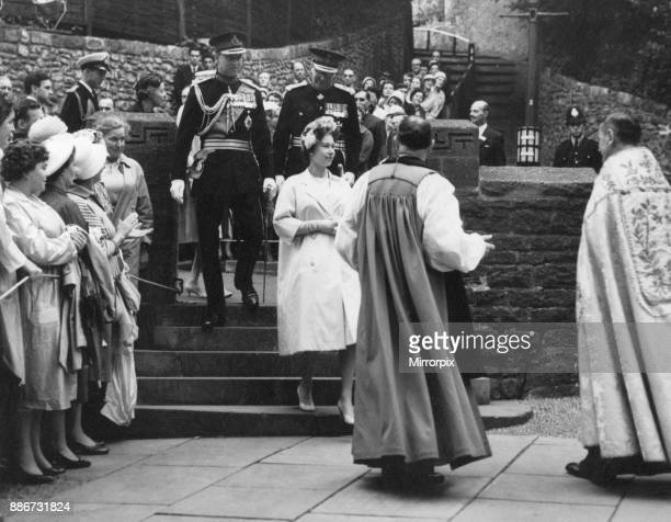 Queen Elizabeth II pictured during two day visit to the welsh capital Cardiff Wales Saturday 6th August 1960 Out Picture Shows The Queen with Bishop...