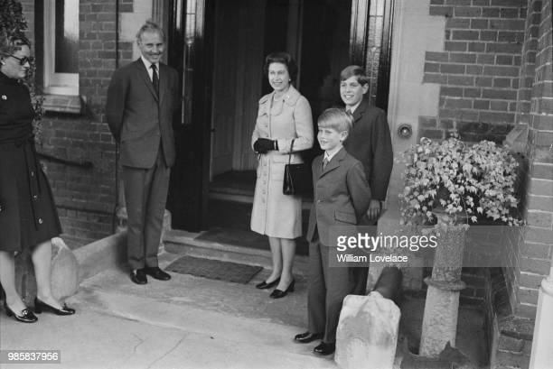 Queen Elizabeth II pictured with her sons Prince Andrew and Prince Edward as Prince Edward starts his first day at Heatherdown Preparatory School...