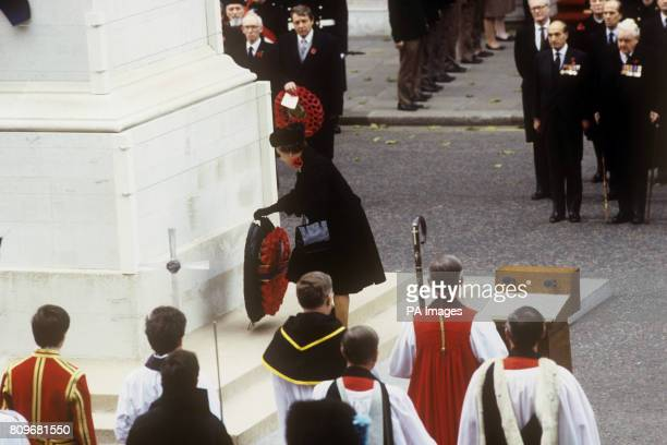 Queen Elizabeth II places her wreath on the Cenotaph in Whitehall during the Remembrance Day service in tribute to the dead of two world wars