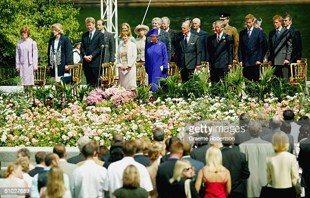 Queen Elizabeth II politicians members of the Royal family and the Spencer family attend the opening of the Diana Memorial Fountain in memory of the...
