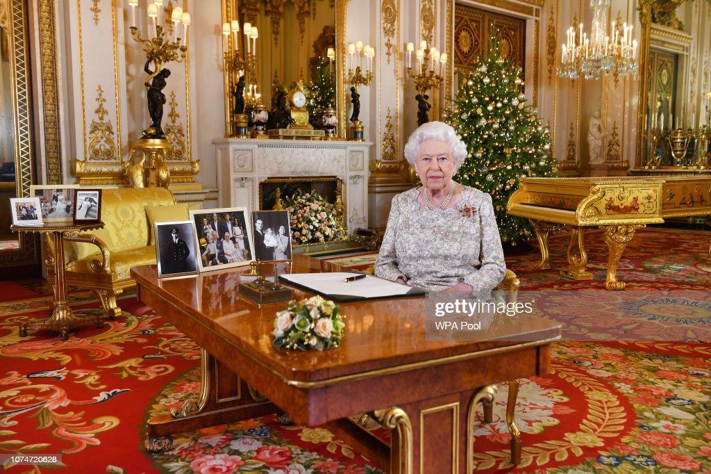 Queen Elizabeth II Delivers Her Christmas Speech : News Photo